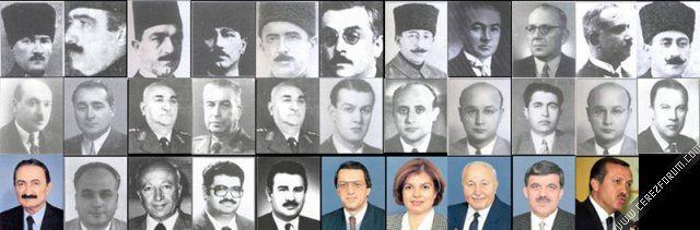 Başbakanlarımızın Sırasıyla isimleri Tarihleri