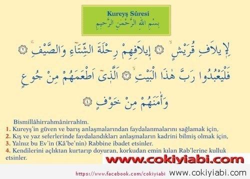 Kureyş suresi Türkçe vE Arapça anlamı