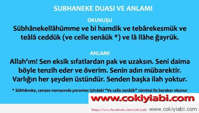 Sübhaneke Duası Türkçe ve Arapça Anlamı