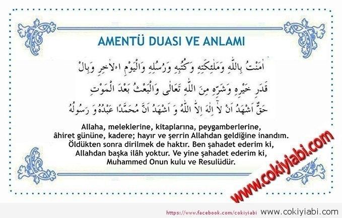 Amentü Duası Türkçe Ve Arapça Anlamı