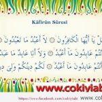 Kafirun Suresi Arapça Türkçe Ve Anlamı
