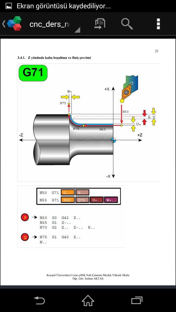G71 çevirimi ve örnek