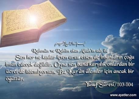 YUSUF Suresi Arapça ve Türkçe Meali