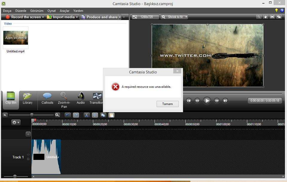 Camtasia studio 8 a required resource was unavailable Hatası ve çözümü