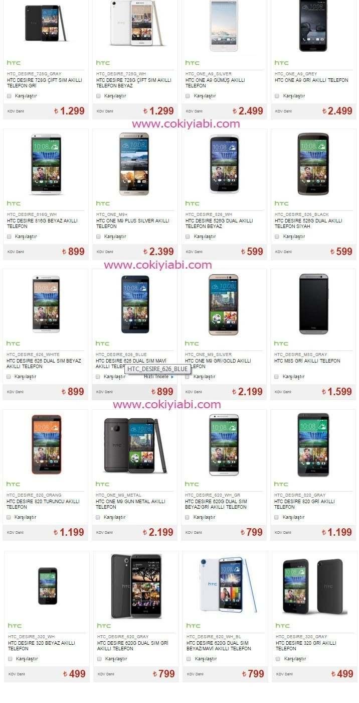 HTC Telofonların Modelleri ve fiyatı