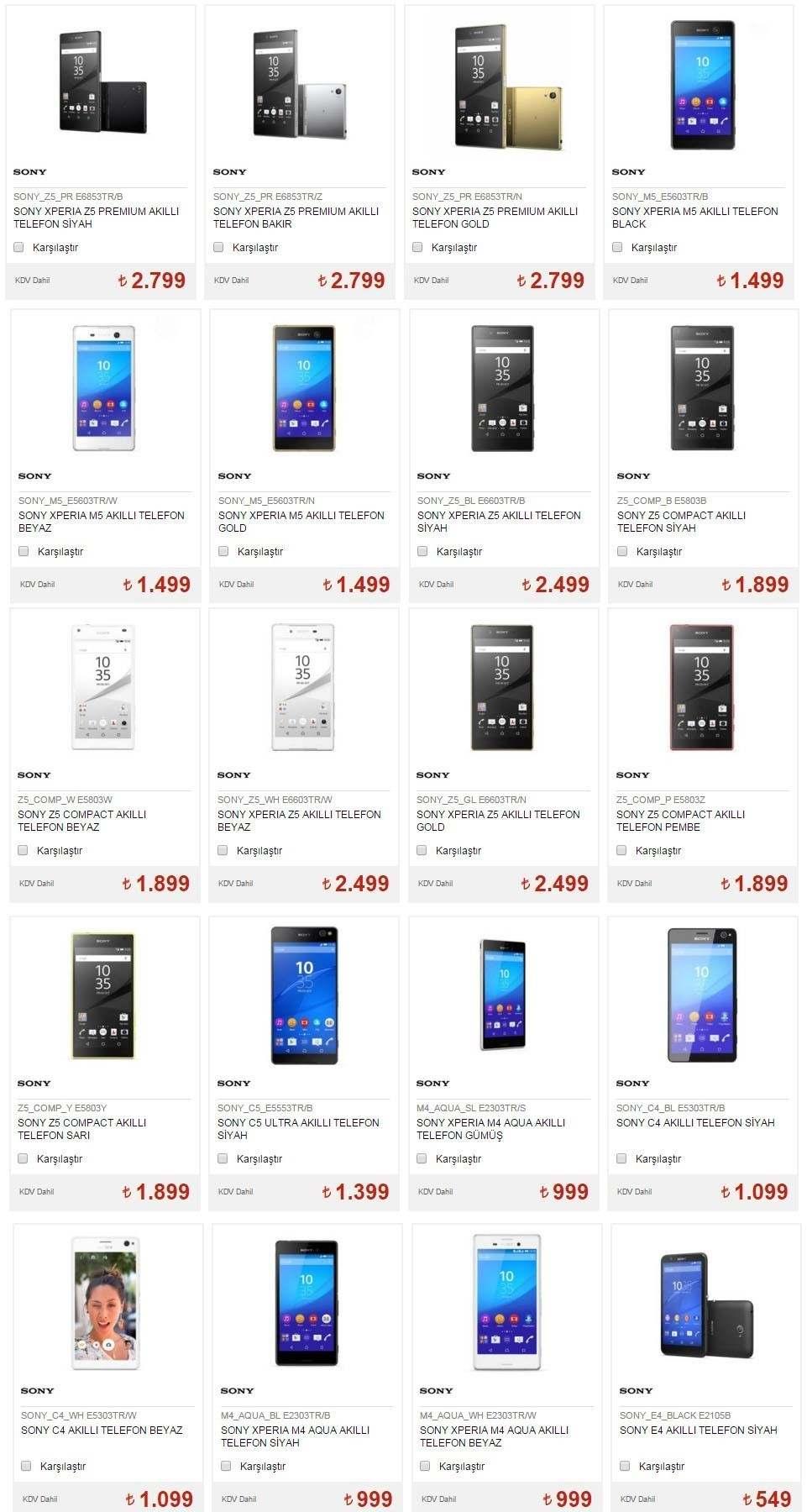 Sony Telofon Resim Marka ve Fiyatları