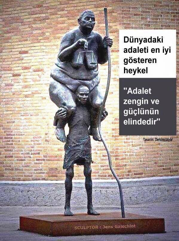 Adaletsizliği anlatan resimli sözler