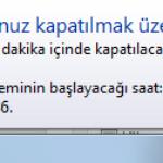 Bilgisayarı otomatik kapatma