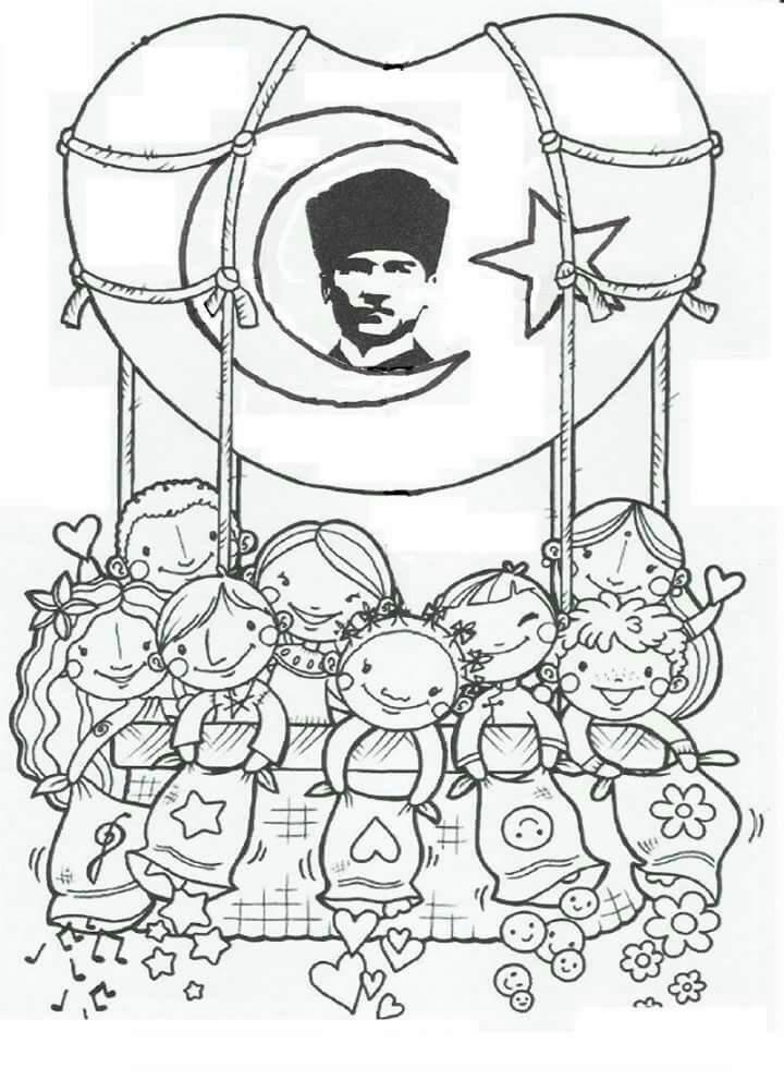 10 Kasim Ataturk Ve Cocuklar Boyama Sayfasi Guzel Sozler Ve
