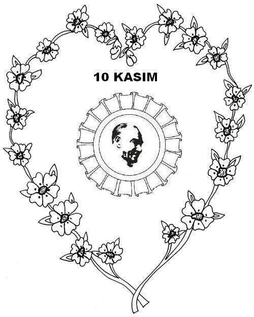 10 Kasim Cicekli Ve Ataturk Boyama Sayfasi Güzel Sözler