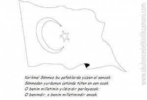 Turk Bayragi Ve Istiklal Marsi Boyama Resmi Guzel Sozler Ve