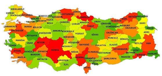 Türkiye'nin 81 il Listesi