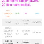 2018 Resmi Tatil Günleri