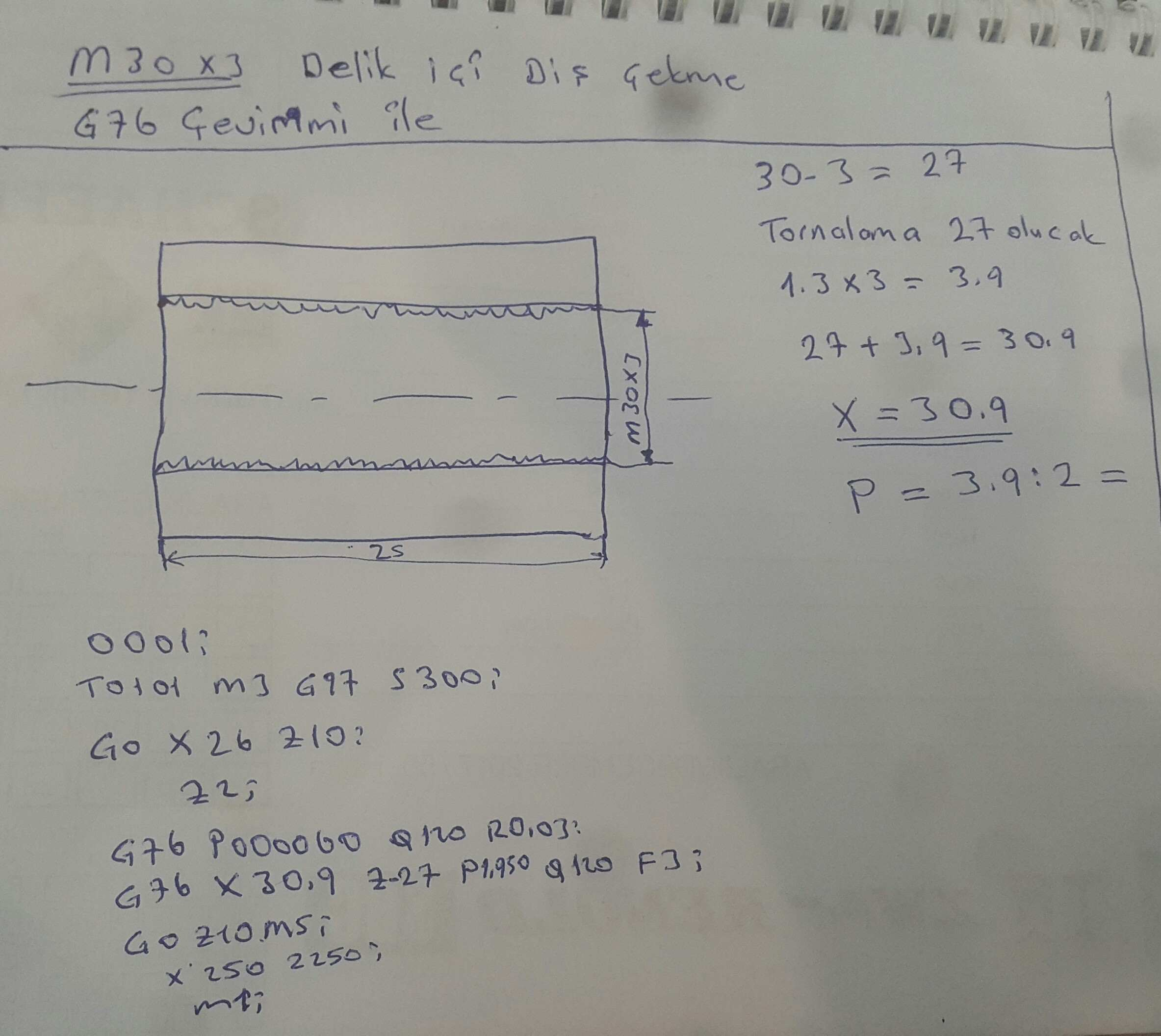 Cnc Torna İç Çap  Diş Çekme  (M30x3)