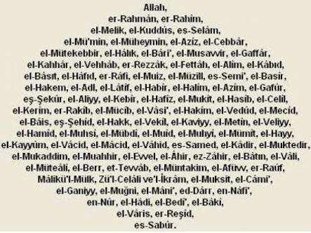 Allahın 99 ismi ve Anlamları