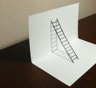 3d Merdiven Çizimi Karakalem