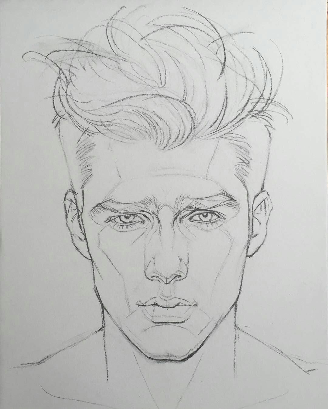 Line Drawing Male Face : Karakalem bayan erkek saç Çizimleri güzel sözler
