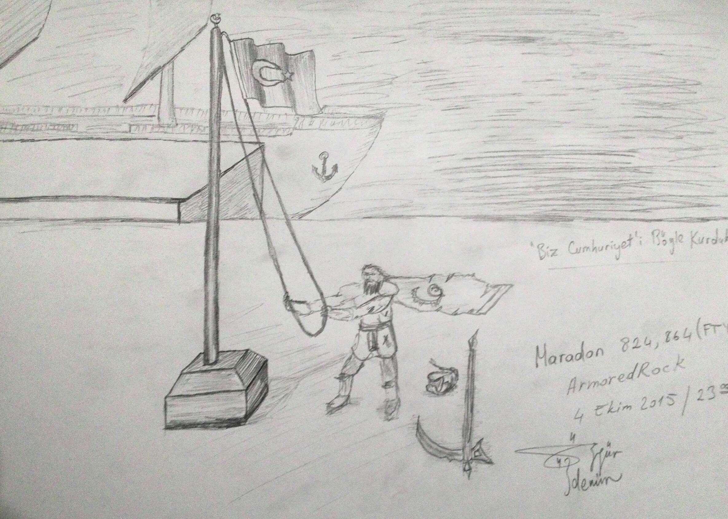 29 Ekim Karakalem Cizimleri Ogrenciler Guzel Sozler Ve Bilgi