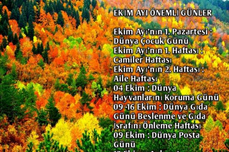 Ekim Ayı Önemli Günleri ve Haftaları