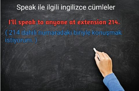 Speak ile ilgili ingilizce cümleler