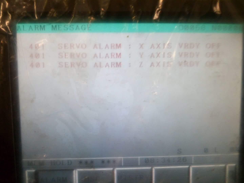 401 Servo Alarm X AXIS VRDY OFF