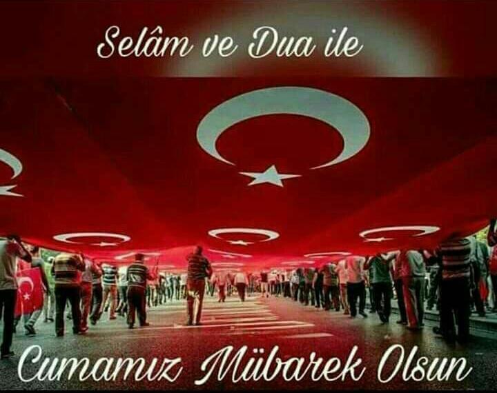 Türk bayraklı cuma günü resimli mesaj