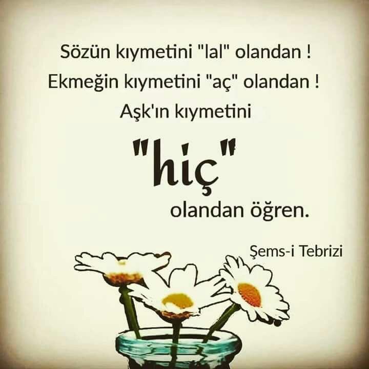 Şemsi Tebrizi sözleri instagram