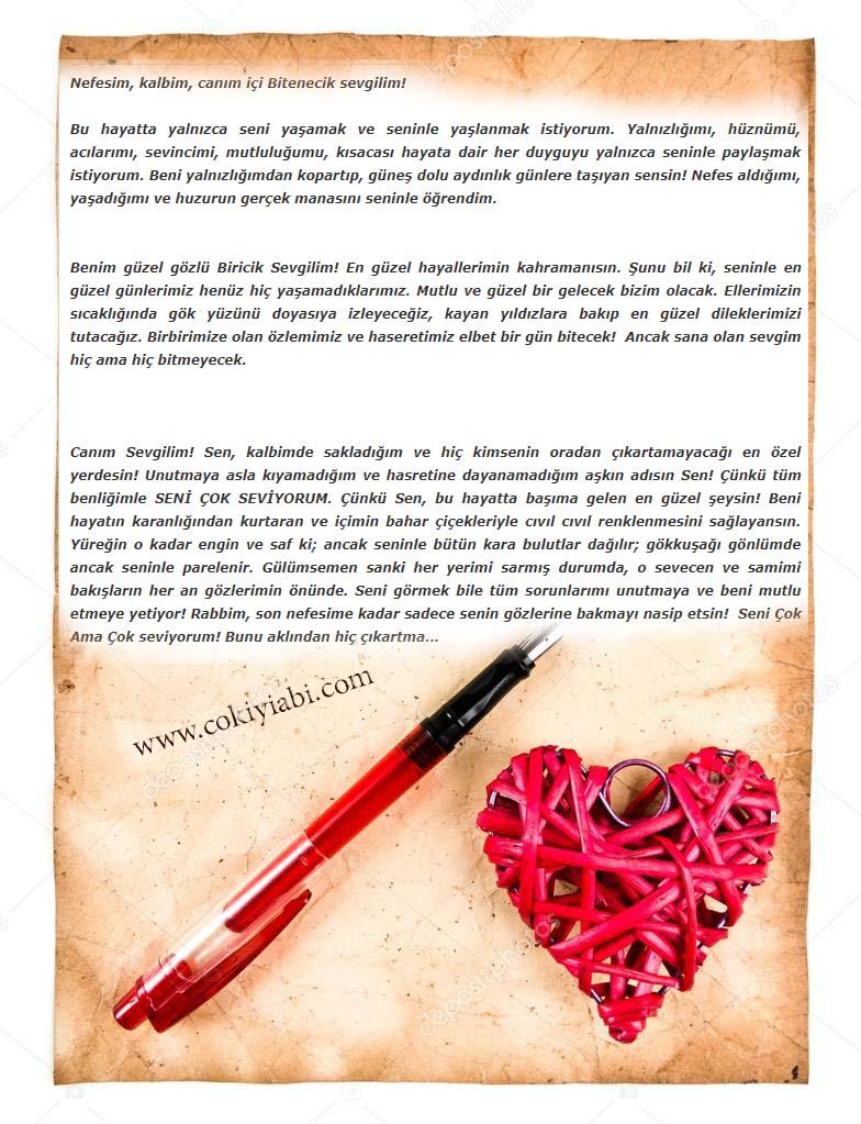 sevgiliye romantik aşk mektubları