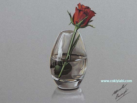 Karakalem 3d Cam Nesneler örnek çizimler Güzel Sözler