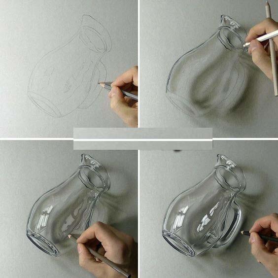 Karakalem 3d Cam Nesneler Örnek Çizimler
