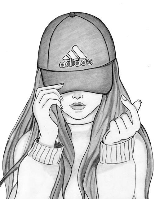 karakalem şapkalı kız çizimleri
