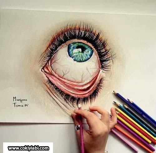 mavi göz bebeği çizimi