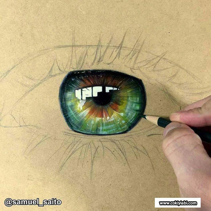yeşil göz çizimi
