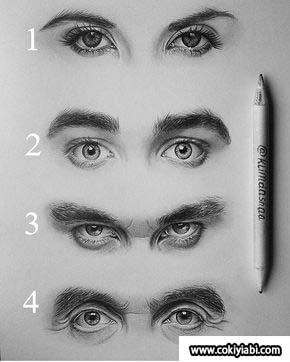 Karakalem Erkek Göz Çizim Teknikleri Örnek Resimler