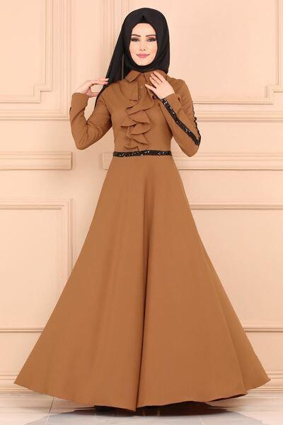 4b66e63861718 kahve-renk-tesettur-abiye-elbise-modelleri - Güzel Sözler