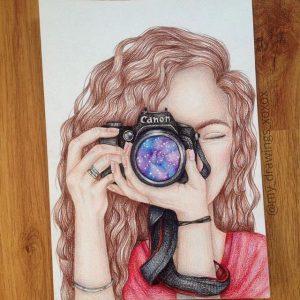 karakalem-fotograf-makinesi-resim-ceken-kiz-cizimi - Güzel ...  karakalem-fotog...