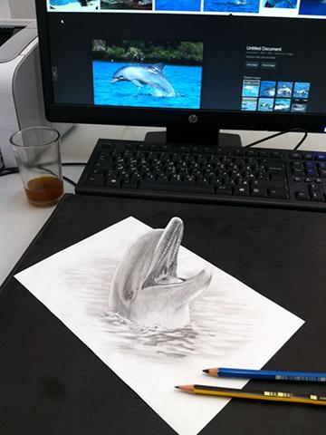 3 Boyutlu İlginç Gerçeklikte Karakalem Çizimleri
