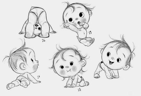Karakalem Çocuk Bebek Çizimleri