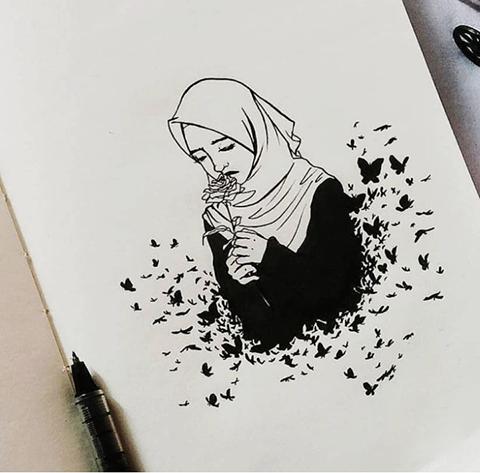 Karakalem Başörtülü Kadın Çizimleri