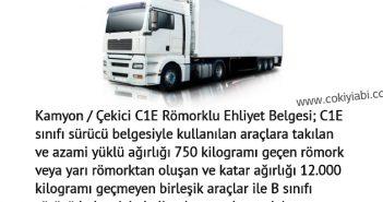 C1E romorklu kamyon ehliyet alma yaşı
