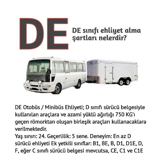 DE Sınıfı Otübüs Römorklu ehliyet fiyatı