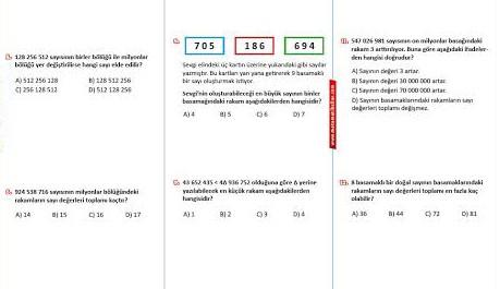 5.Sınıf Doğal Sayılar 3.Test Soruları