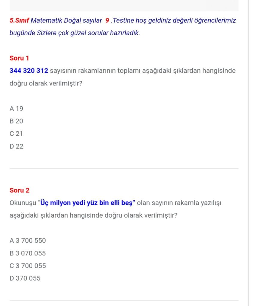 5.Sınıf Doğal Sayılar Matematik Testleri (9)