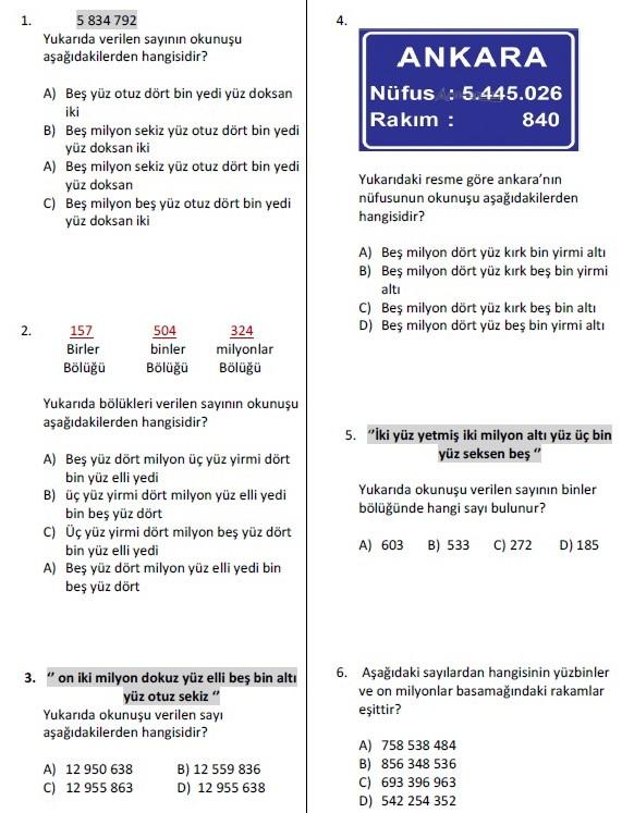 5.Sınıf Doğal Sayılar Test Çöz (4)