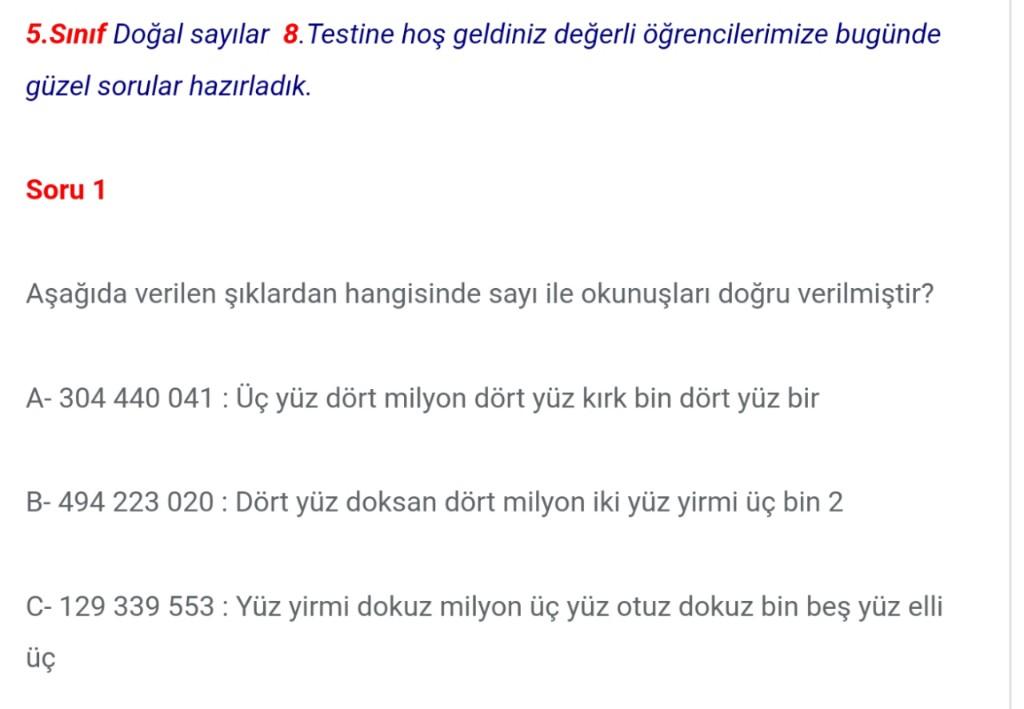 5.Sınıf Doğal Sayılar Test Soruları ve Cevapları (8)