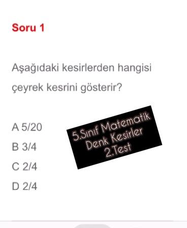 5.Sınıf Matematik Denk Kesirler 2.Test