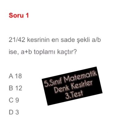 5.Sınıf Matematik Denk Kesirler 3.Test