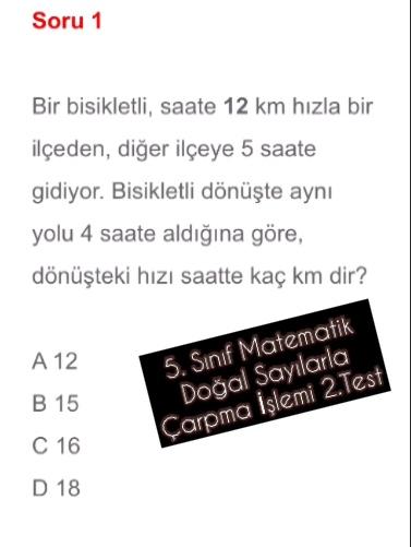 5. Sınıf Matematik Doğal Sayılarla Çarpma  İşlemi 2.Test