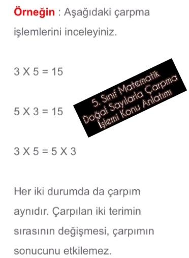 5. Sınıf Matematik Doğal Sayılarla Çarpma İşlemi Konu Anlatımı