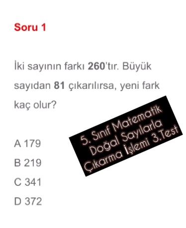 5. Sınıf Matematik Doğal Sayılarla Çıkarma İşlemi 3.Test